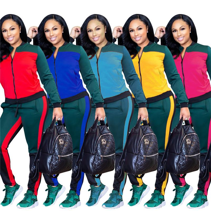 f8c92245f4 Women Tracksuits Sport Suit Sets Casual T-Shirt Top Long Pants 2 Piece  Tracksuit Sportswear Pattern S-3XL