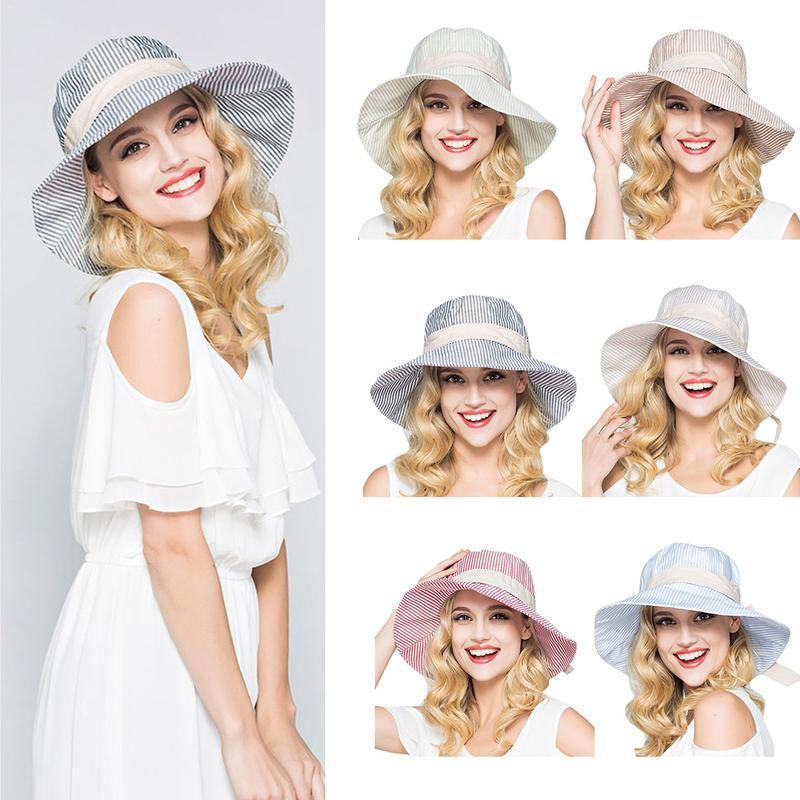 Women S Sun Cap Striped Solid Casual Cotton Hat Streetwear Large Brimmed Hat  Elegant Ladies 2019 Summer And Spring Cap One Size Mens Hat Sunhat From  Strips 22b20ac7c88