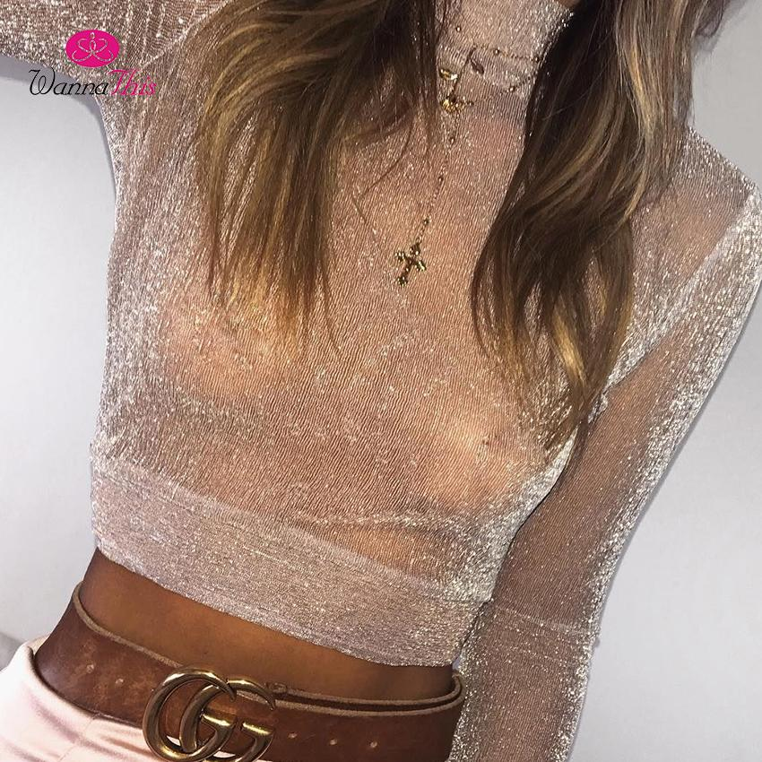 WannaThis2019 Sexy Shining Tops Women Turtleneck Long Sleeve Crop Top See Through Bling Mesh Tees Solid Pink Black Shirt Females
