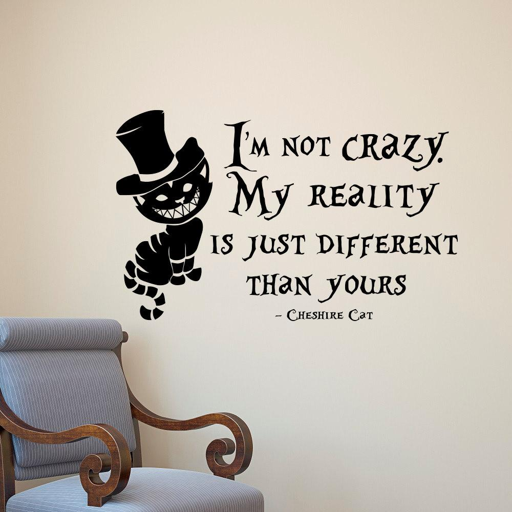 sticker collecting Alice In Wonderland Wall Sticker Cheshire Cat Quotes  Vinyl Decals Room Wall Art Decoration DIY Home Decor