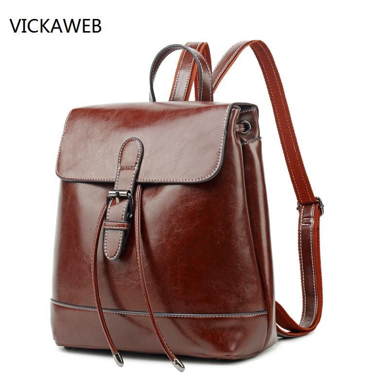 d38dad358e Backpack Women Leather Genuine Ladies Travel Bags Vintage School ...