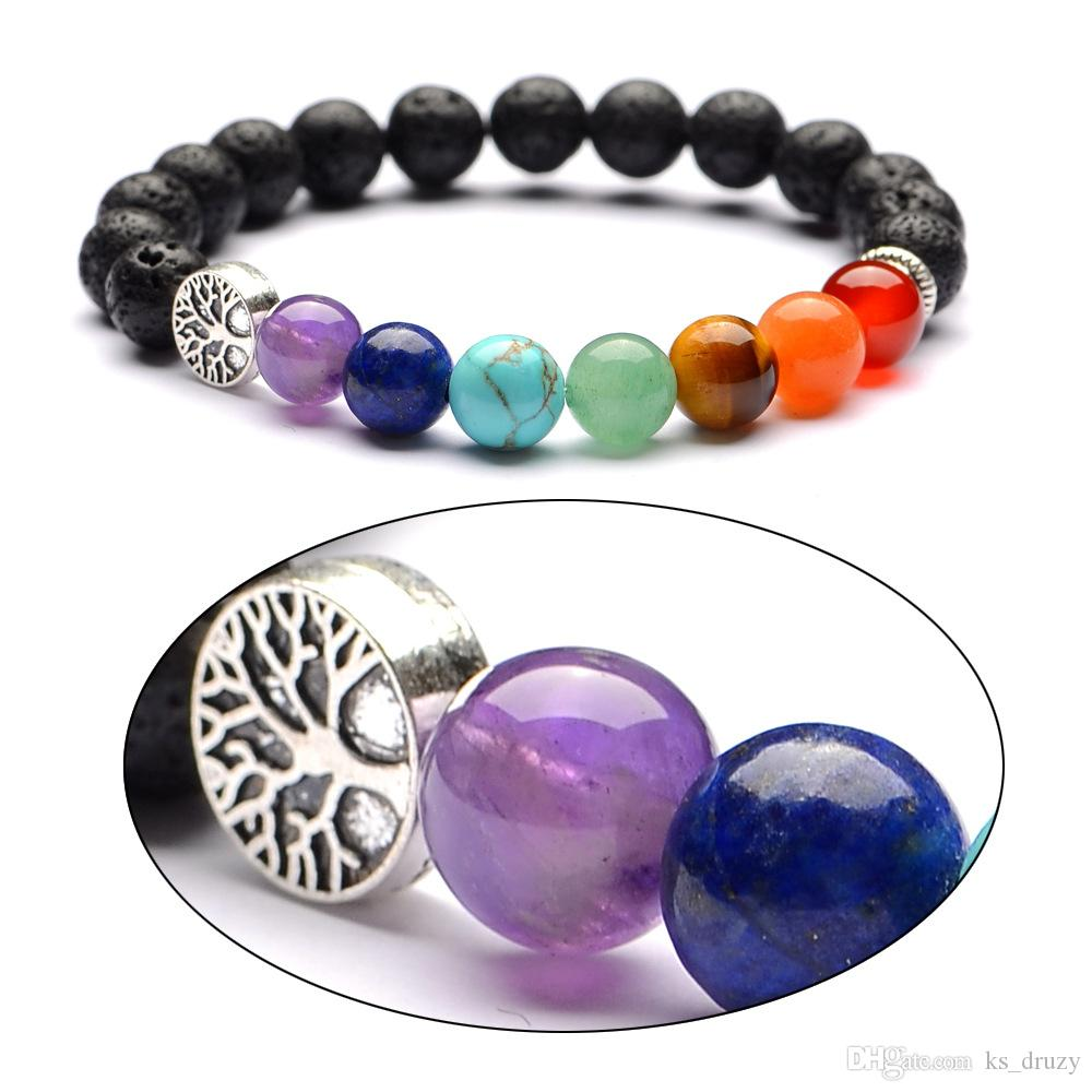 6mm 8mm Lava Stone Tree of Life 7 Chakra Healing Balance Beads Reiki Buddha Prayer Essential Oil Diffuser Bracelet Jewelry