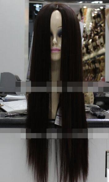 Long Dark Brown Women S Fringes Party No Fringes Hair Straight Wig