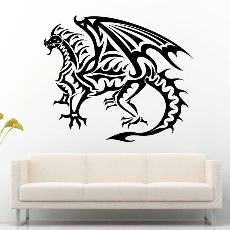 Fire Tribal Dragon Reptile Scale Flying Wings Wall Stickers for Nursery Boys Bedroom Art Decor Vinyl Wall Decals Sticker