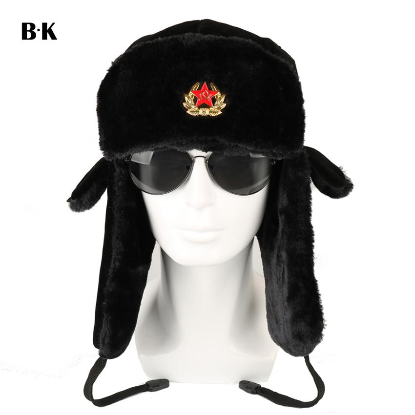 6bbc4533b00 Soviet Army Military Badge Russia Ushanka Bomber Hats Pilot Trapper Aviator Cap  Winter Faux Rabbit Fur Earflap Snow Caps D19011503 Caps Cap From Yizhan02