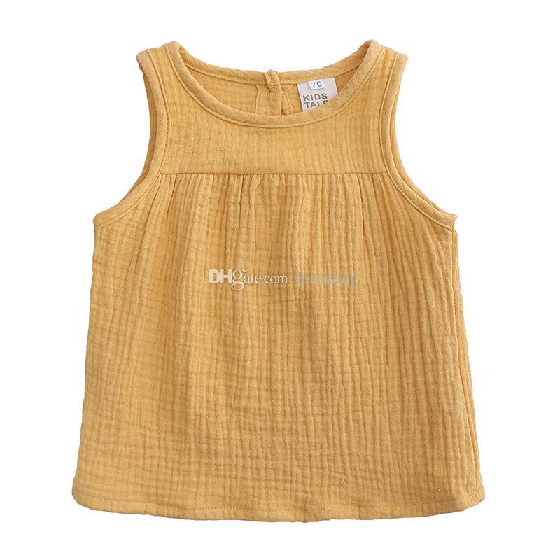 a9ff4a19 Ropa de diseñador para niños niñas Camisetas Algodón de lino niños sin  mangas tops Colores de caramelo Chaleco Tees 2019 Verano moda bebé ropa ...