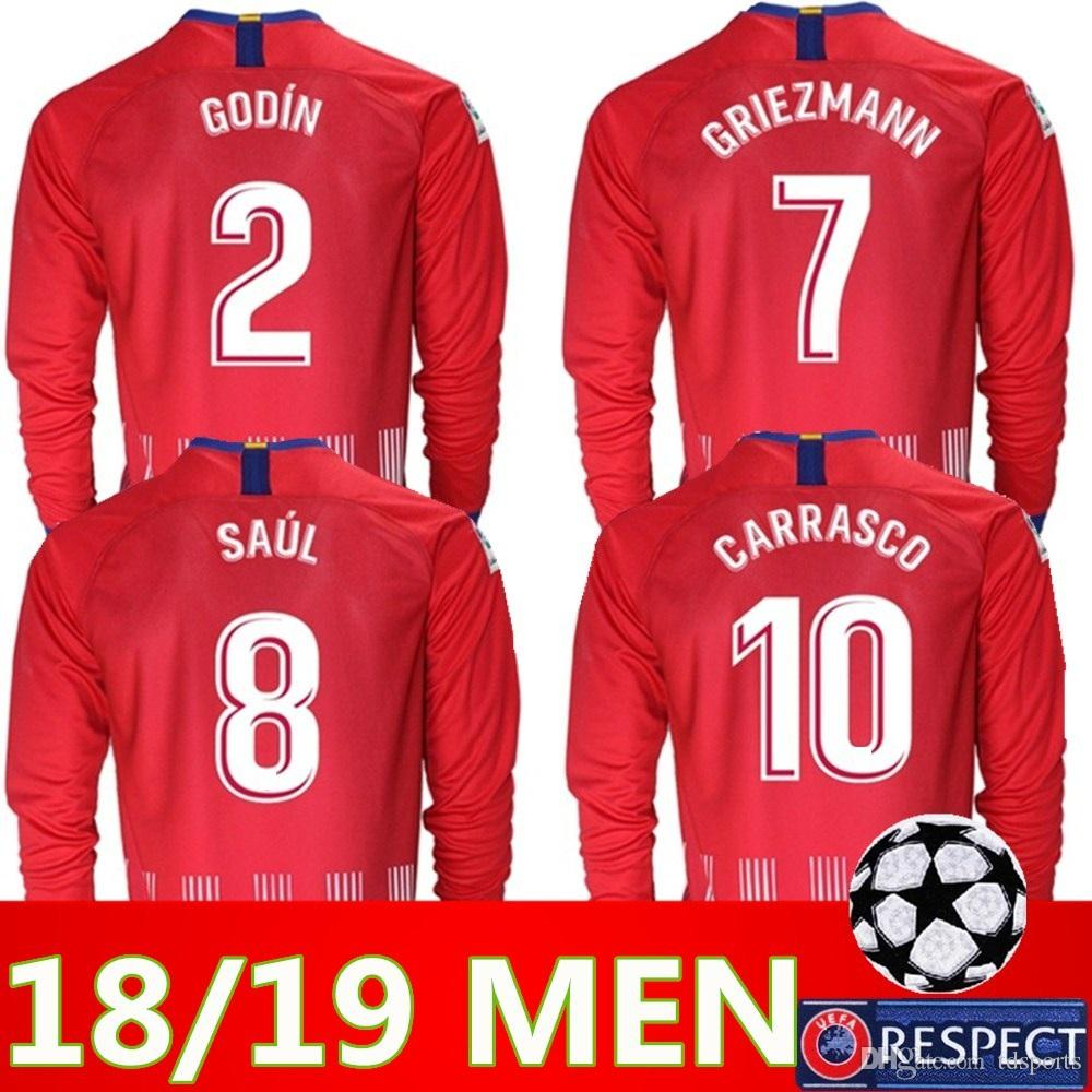 quality design 99a11 595ab 2018 2019 Atletico Madrid Long sleeve Soccer Jersey 18 19 Thai quality KOKE  SAUL DIEGO COSTA TORRES GODIN CORREA GRIEZMANN football shirt