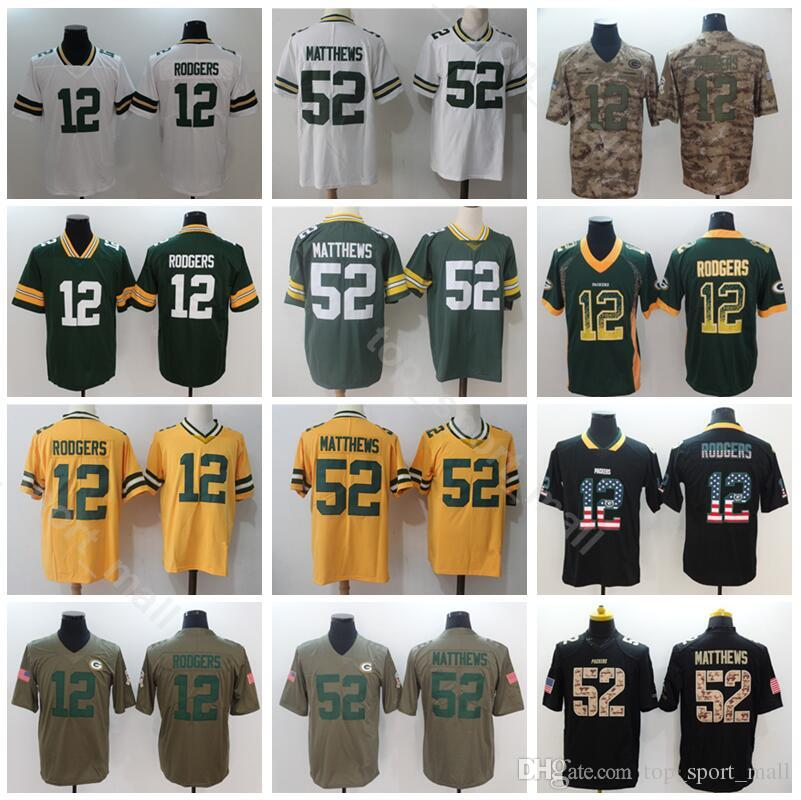 detailed look b4514 ab717 Green Bay Packers 52 Clay Matthews Jersey Men Football 12 Aaron Rodgers  Green White Vapor Untouchable Salute to Service Shadow Hyphenation