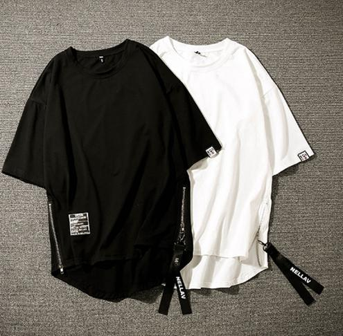 Men 5 Quarter Sleeve T-shirts BF Hip-hop Summer Mens T-shirt Chic Korean Style Thin ajukuBreathable Tops Loose Male Zipper