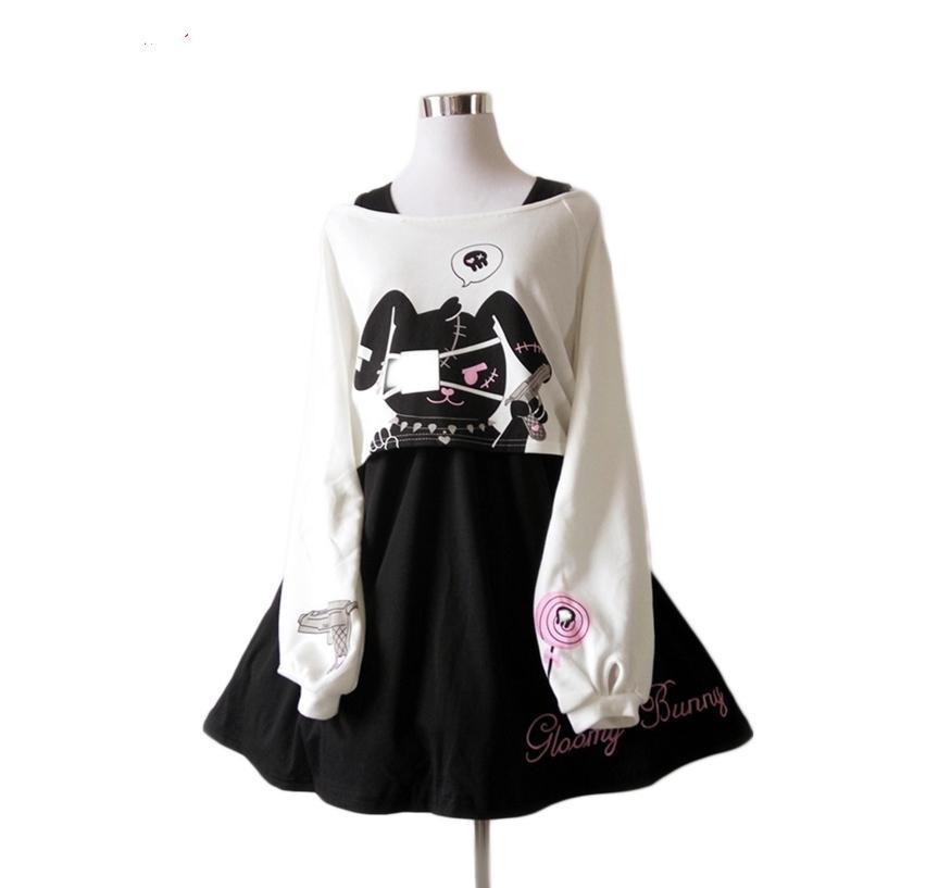 a50cb241c Compre Vestido De Coelho Em Quadrinhos Negros Adolescentes Meninas Terno Doce  Vestido De Algodão Curto Bonito Coelho Imprimir Mangas Compridas Japonês ...