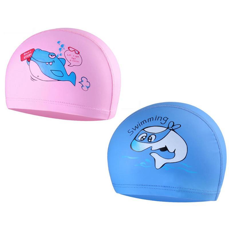 29c205db6c2 2019 Cartoon Animal Shark Kids Children Pu Fabric Swimming Caps Ear Hair  Protection Water Sport Swim Bathing Cap Hat For Boys Girls From Jerry006,  ...