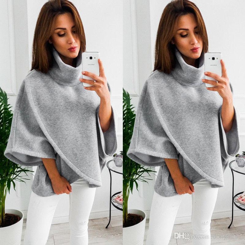 3d60397a2fc 2019 Women Loose Batwing Wool Poncho Winter Warm Coat Jacket Cloak Cape  Parka Outwear From Dong1242