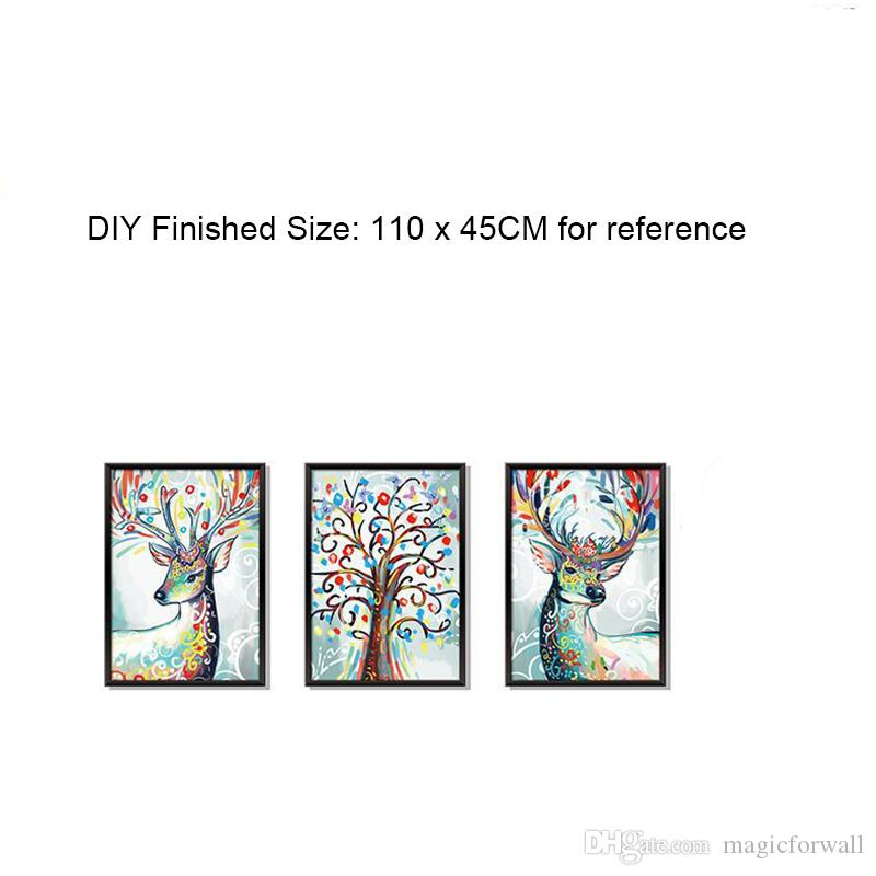 3D Simulation Picture Frame Wall Stickers Colorful Deer Tree Wall Decals DIY Home Decoration Self-adhesive Wallpaper Poster Art