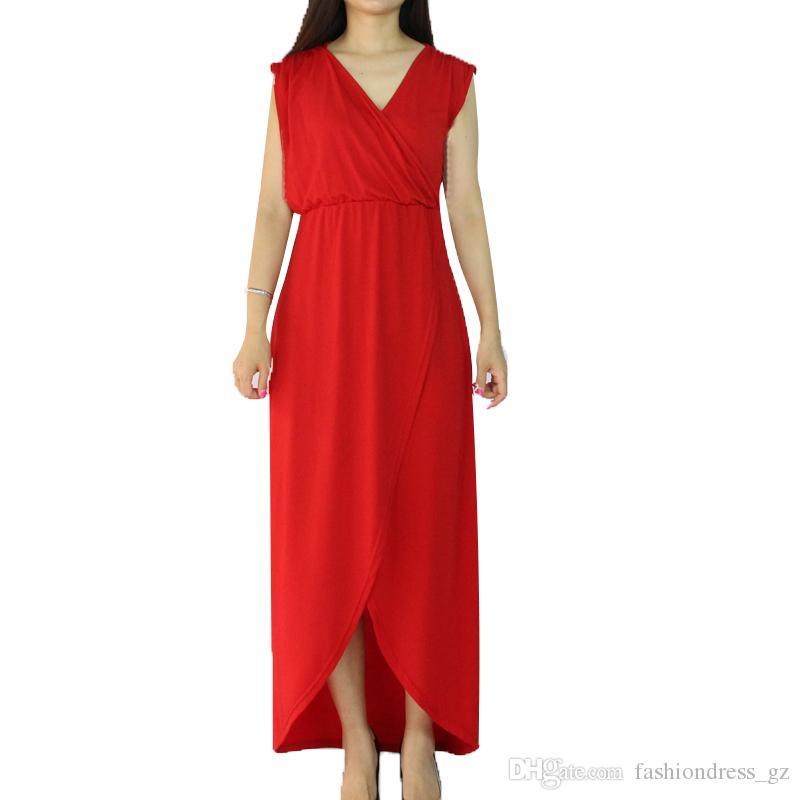 Women casual long dress Sleeveless V,neck Sexy Wrap Long maxi Asymmetrical  Split Dress S M L XL Plus Size Female Elegant Dress