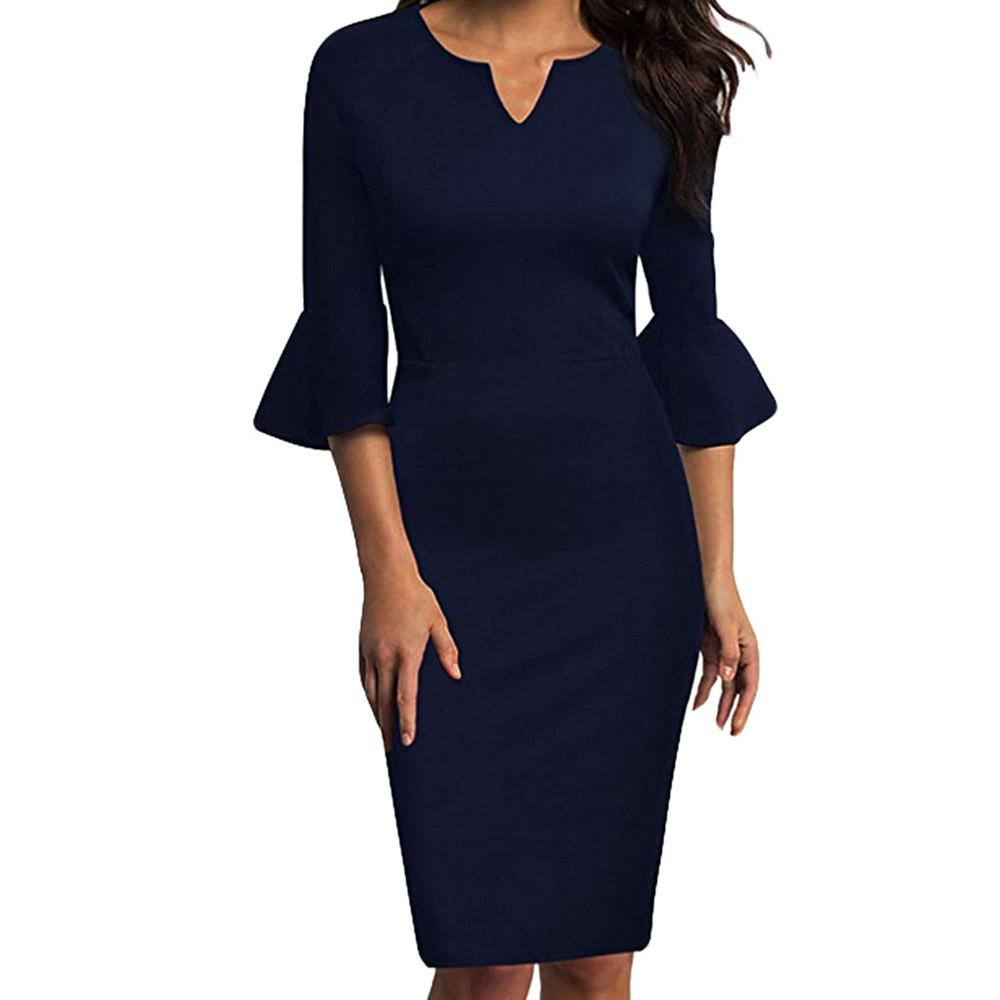 2f3828cadc7104 Women Pencil Dress Plus Size Sexy V Neck Flounce Bell Sleeve Office Work  Casual Pencil Party Dress N.20 Affordable Evening Dresses Prom Gown From ...
