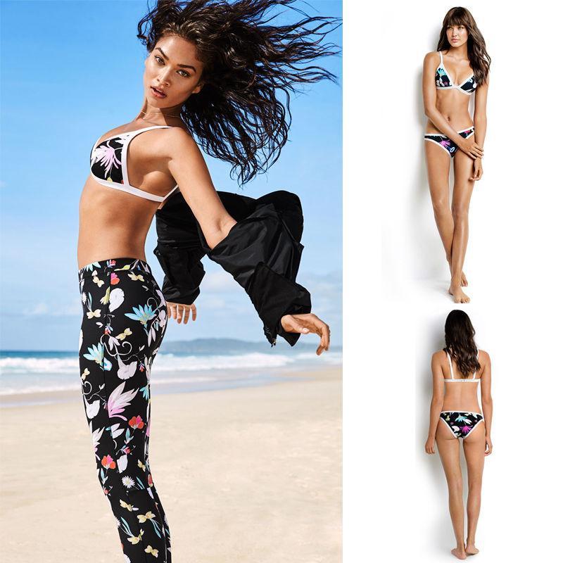 Frauen-Badebekleidung 2020 Heißer Verkauf Weinlese-Druck-Bikini-Satz Push-up gepolsterter BH-Badeanzug-Badeanzug Bademode Bademode Biquni