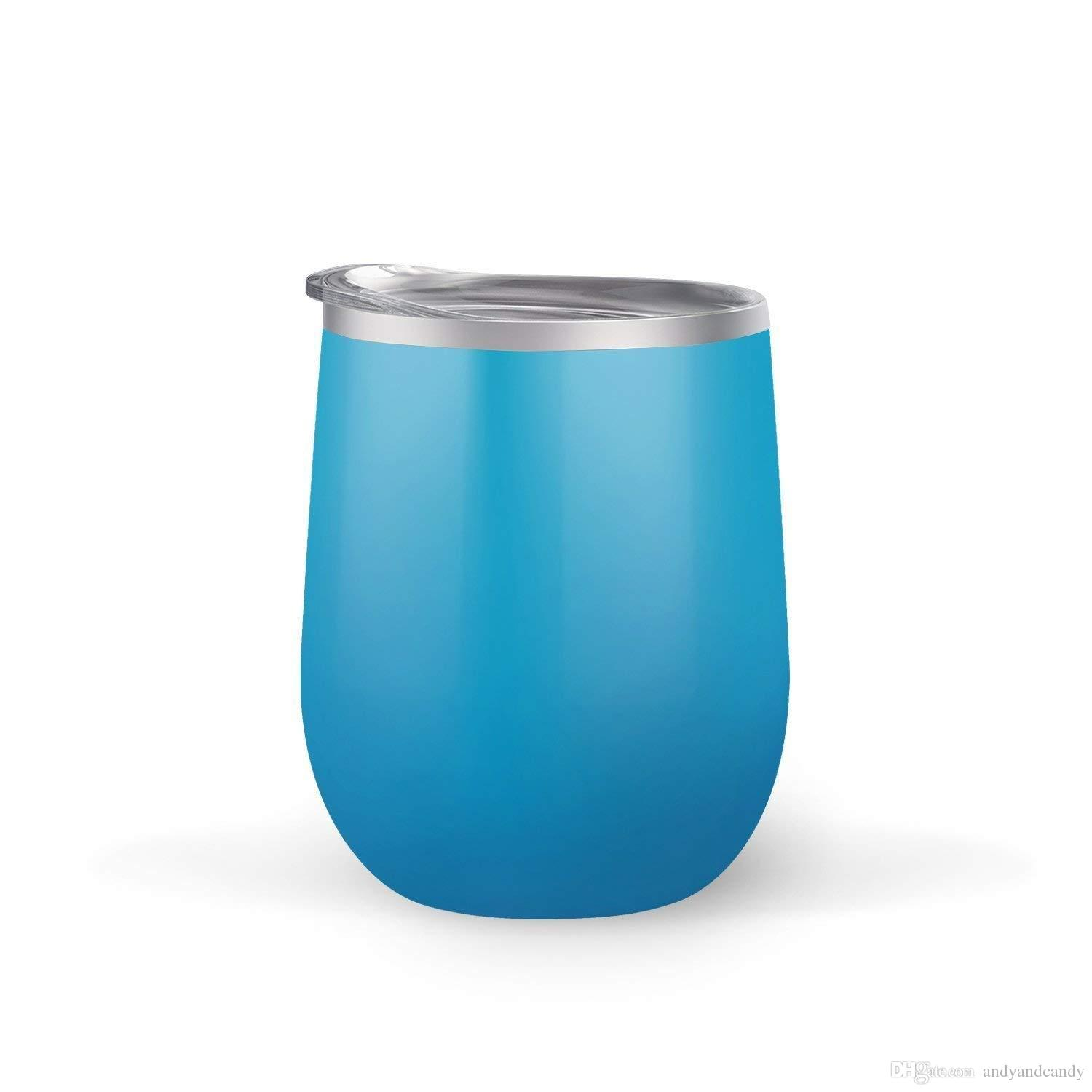 2b02c7f5f0b Stainless Steel Stemless Wine Tumbler with Lid 12 oz Double Wall Vacuum  Insulated Travel Tumbler Cup for Coffee Wine BPA Free Powder Coated