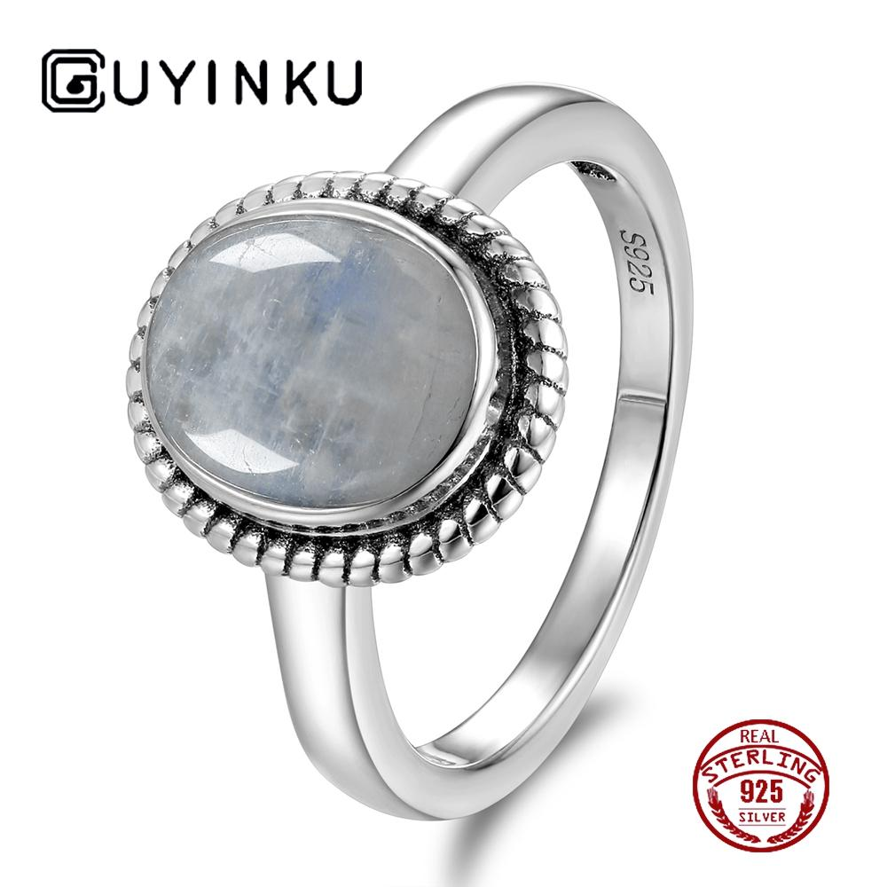 f65294284b6a6 Vintage 8x10MM Natural Rainbow Moonstone Rings 925 Sterling Silver Gemstone  Engagement Anniversary Ring For Women Fine Jewelry