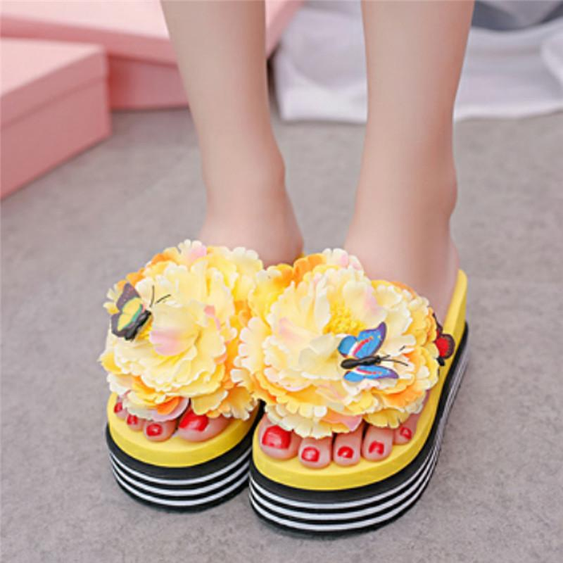 c506ef925 Summer Flower Butterfly Wedge Slippers Fashion Women Striped Shoes ...