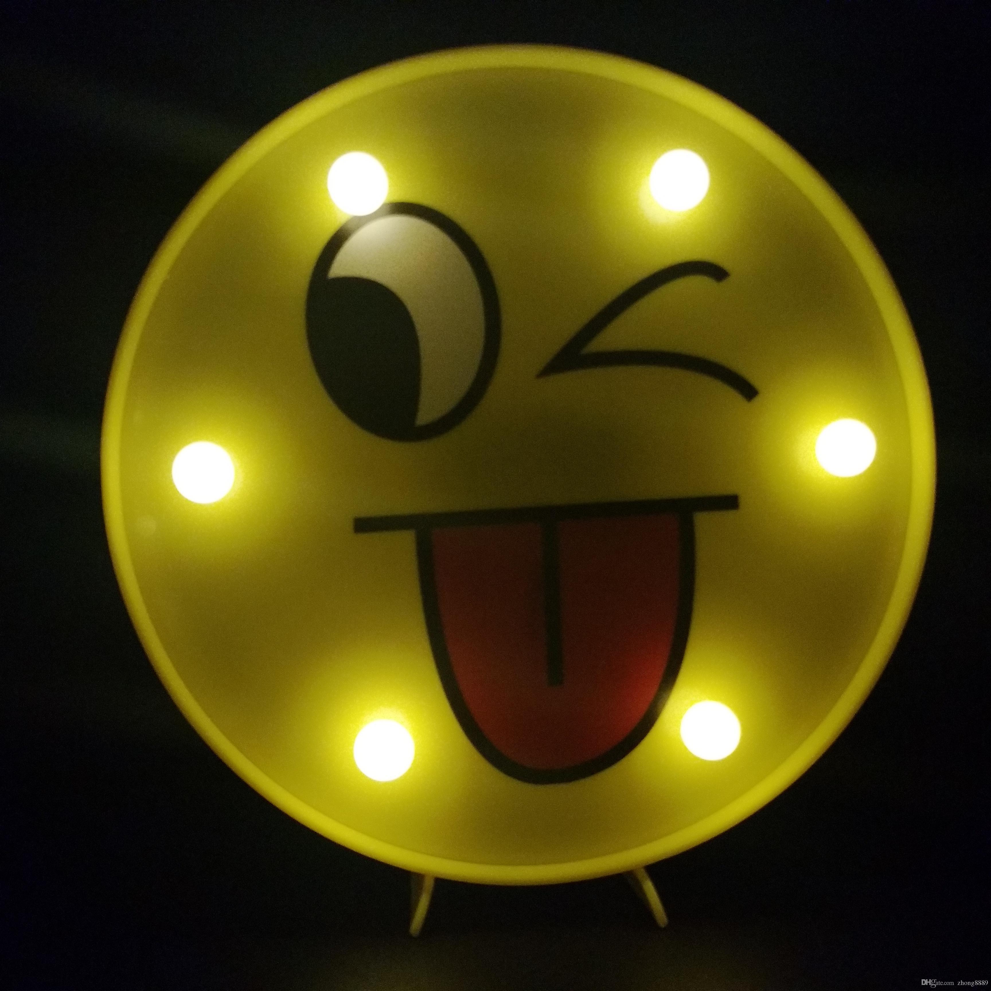 Face 3d Emoji Love Led Night Acrylique New Dégradé 7 Atmosphère Light Sweet Coloré mwv8n0NO
