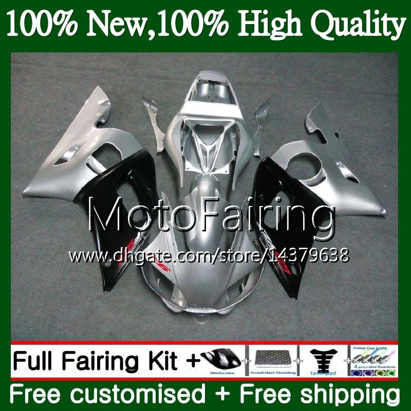 Kit para YAMAHA YZF R6 98 YZF600 YZFR6 98 99 00 01 02 88MF0 YZF 600 Plata negro YZF-R600 YZF-R6 1998 1999 2000 2001 2002 2002 Carenado