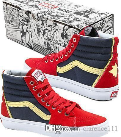 baa2f78e08be0 Authentic Van X Marvel Sk8 Hi Captain Marvel Red, Blue & White High Top  Shoes Vintage Chignon Chignon Tool From Clarence111, $30.06  DHgate.Com