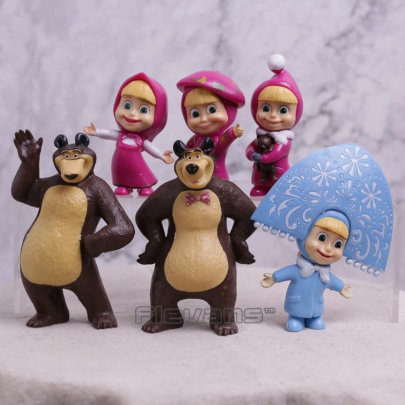 59420a0f79fa9 Masha & The Bear Masha and Bear Painter Snow Maiden PVC Action Figures Toys  Gifts for Kids Children 6pcs/set 6.5~10cm