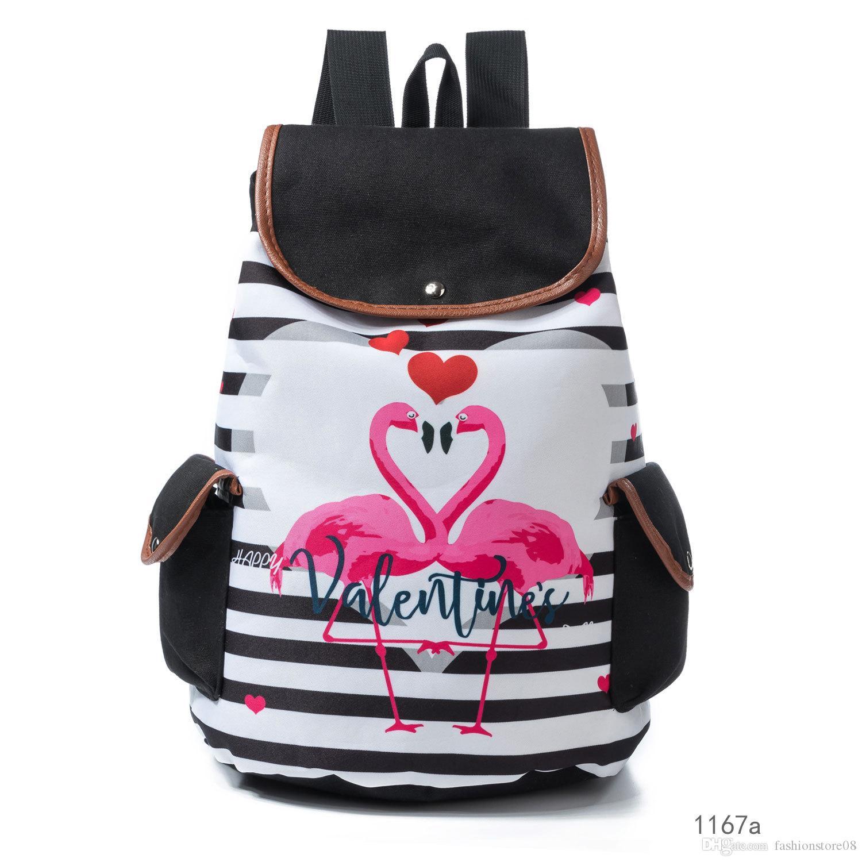 27db91e19856 Фламинго единорог лошадь животных шаблон цветок печатных белье холст сумка  газа студент школьные сумки рюкзак