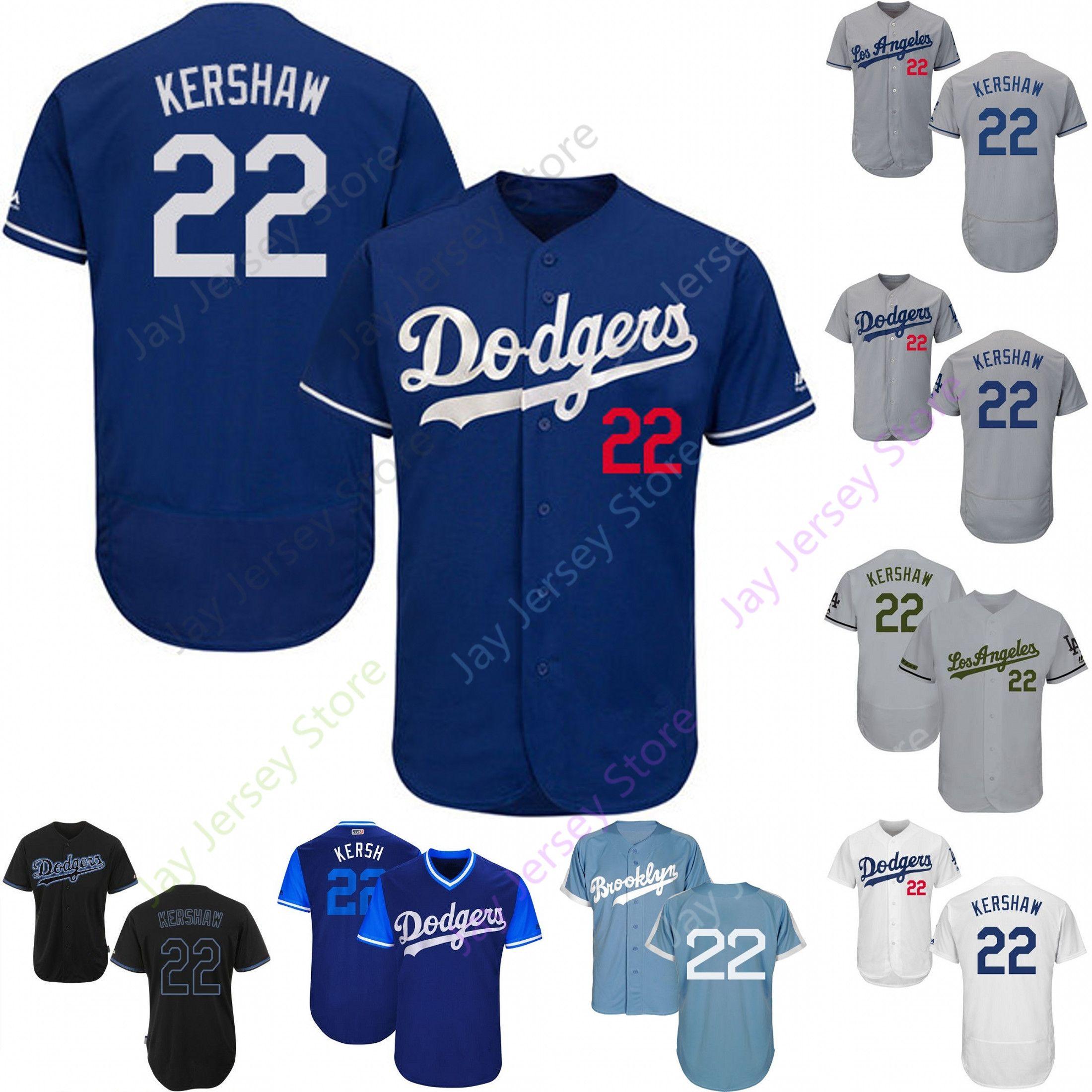 more photos f89fc 8d39e Custom Los Angeles 22 Clayton Kershaw Jersey Dodgers Jerseys Cool Base  Flexbase Blanco Negro Rojo Gris Local Visitante Hombres Mujeres Juvenil  Barato