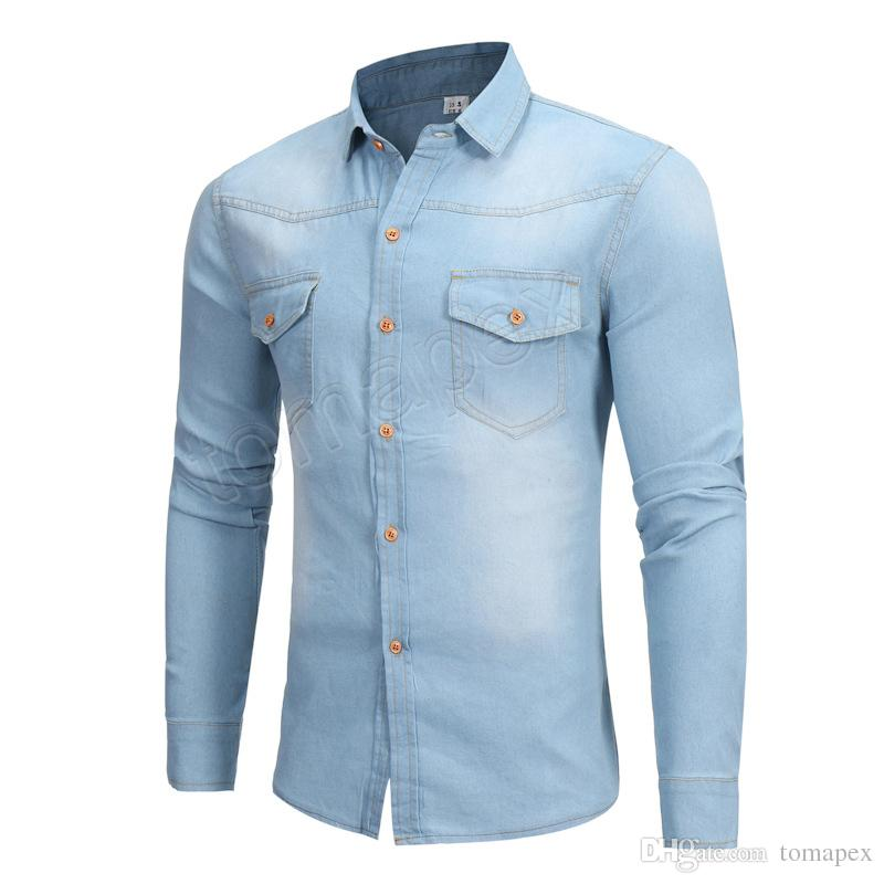 4f6592768169b New Denim Shirt Men Brand Design Long Sleeve Mens Shirts Casual Slim Fit  Cotton Chemise Homme Camisa Jeans Pocket Dress Shirt Design Your Own T  Shirts ...
