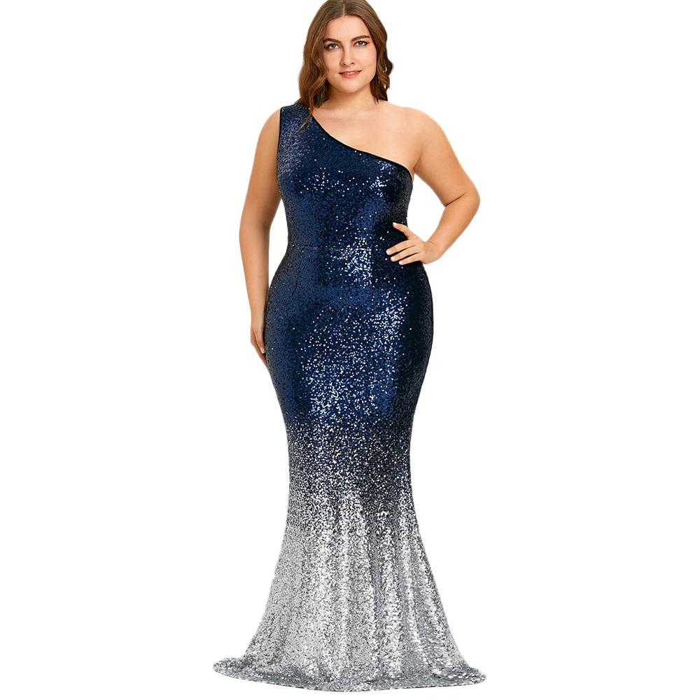 ed70a3c94e Wipalo Women Maxi Mermaid Sequined Dress Plus Size One Shoulder Sleeveless  Bodycon Female Vestidos Sexy Party Trumpet Dresses