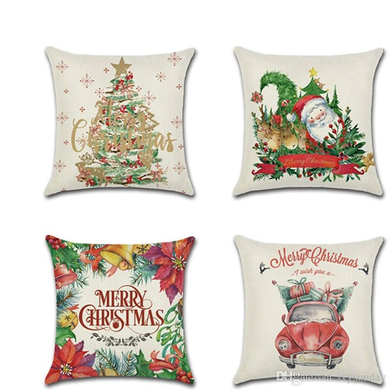 Happy Christmas Pillowcases Christmas Tree Old Man Car Printing Linen Pillow Cases Square Cushion Cover Home Sofa Car Decor