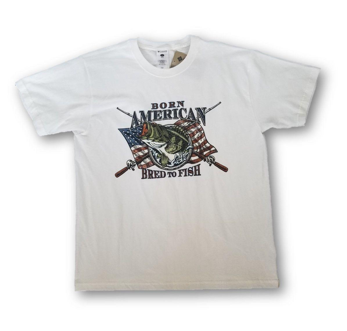 086ace5f8ac COLUMBIA MEN'S BORN AMERICAN GRAPHIC FISHING T SHIRT WHITE TEE LARGE NEW! Men'S  Clothing T Shirts Tees Men Hot Cheap Short Sleeve Vintage Tees Unique T ...