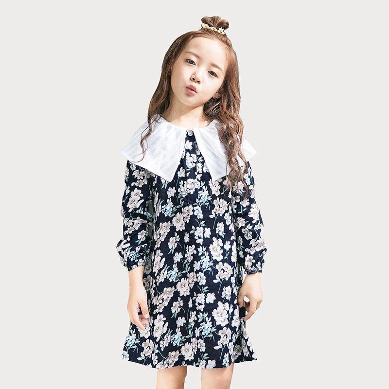 15582b83a2 2019 Flower Girls Dresses Floral Print Long Sleeve Kids Dress For Girls  Vintage Pastoral Children S Costumes Toddler Girl Clothing From Yosicil09