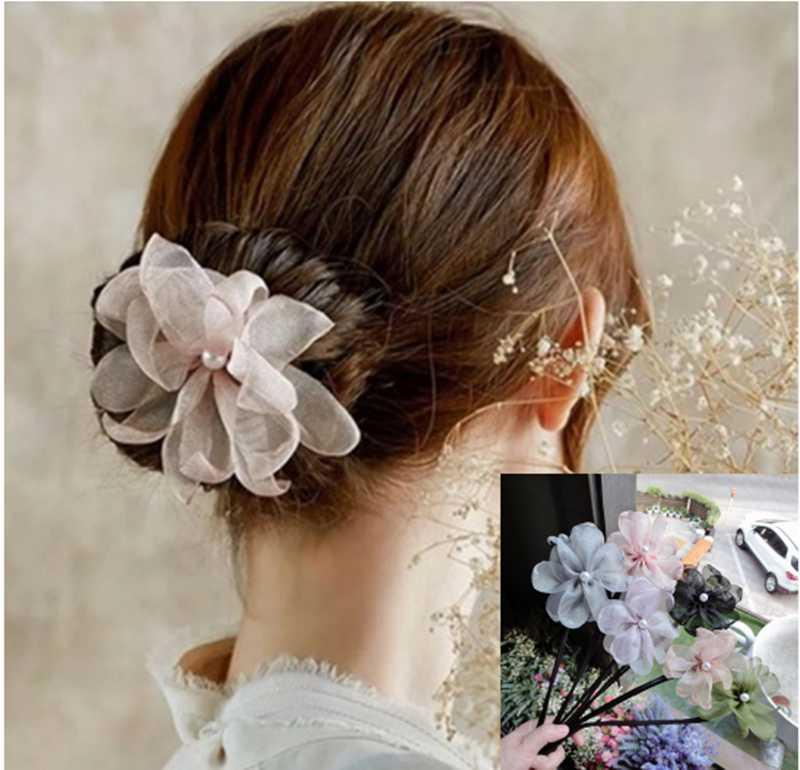 d679f3f49 Woman Flower Donuts Twist Headband Magic Hair Bun Maker DIY Hairstyle Tool  Pearl French Bud Dish Hair Accessories Sweet Hairband Hair Accessories For  Short ...