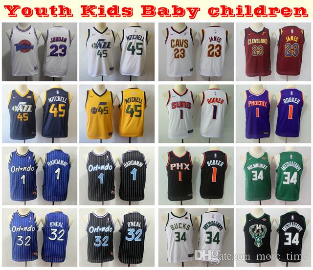 more photos c56a2 a9c7d 2019 Kids Youth Boys Swingman Jersey 1 Anfernee Hardaway Shaquille O Neal  LeBron James Devin Booker Giannis Antetokounmpo Donovan Mitchell