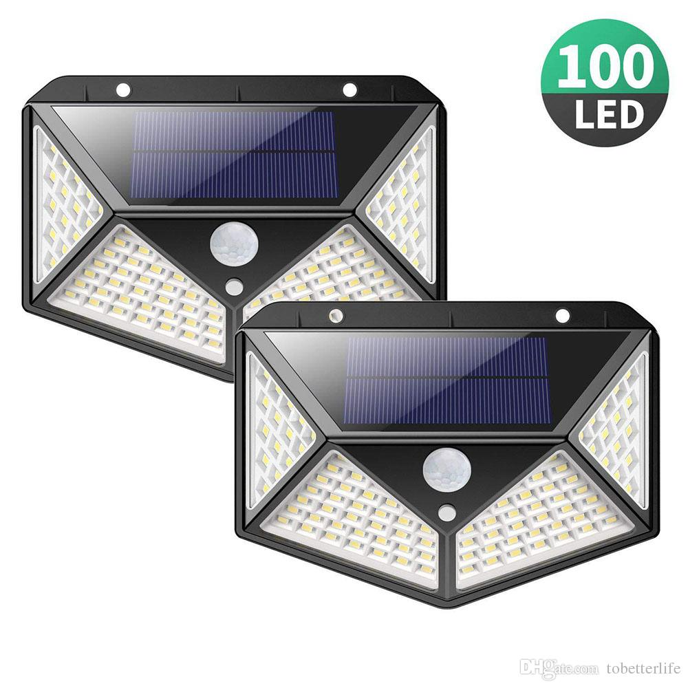 1200LM Outdoor 100 LED Solar Light Aggiornamento PIR Luce del sensore di movimento 2200 mah Impermeabile Solar Light Security Lampada per scale da giardino Garage