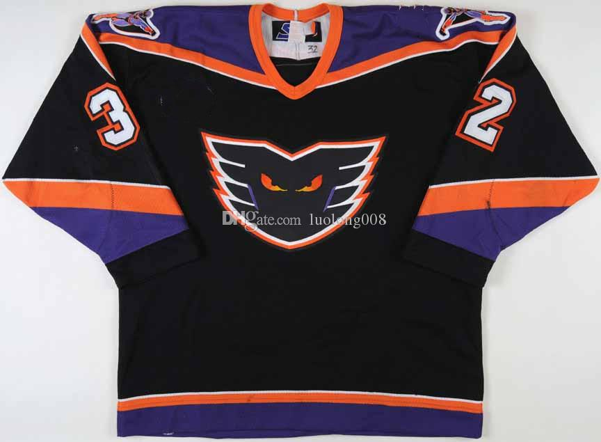 Yves Sarault Lehigh Valley Philadelphia Phantoms Hockey Jersey Embroidery Stitched Customize any number and name Jerseys