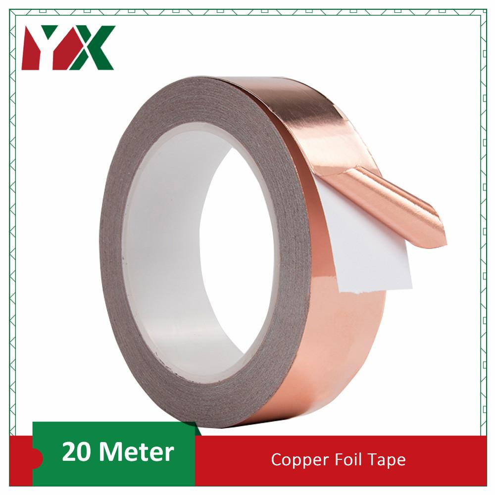 20 Meters Single Side Conductive Copper Foil Tape Stained Glass Adhesive EMI Shielding Heat Resist Tape 2016