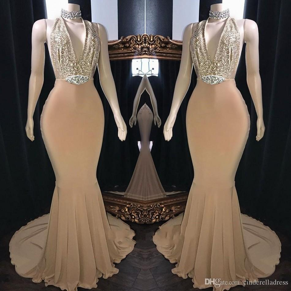 886b0ff0e26d6 Gold Beaded V Neck Sexy Prom Dresses 2019 HIgh Neck Mermaid Open Back  Reflective Plus Size Custom Made Evening Gowns Prom Dresses Liverpool Prom  Dresses ...