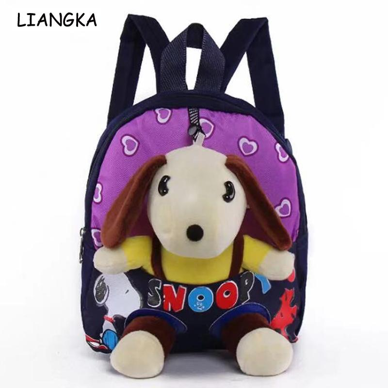 LIANGKA Children Snoopyy Fur School Bag Toddler Kids Puppy Backpack mochilas escolares Knapsack Baby Toy Gift Doll Bags