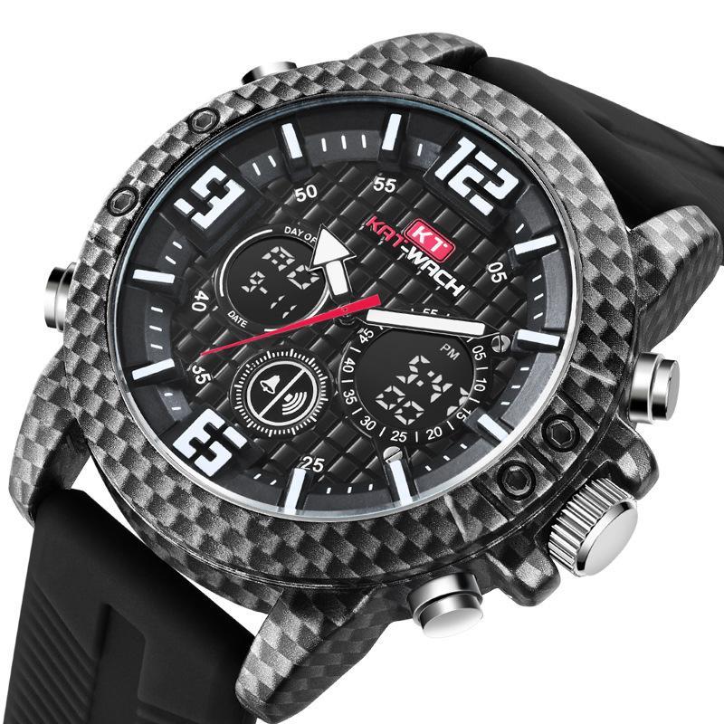 354165d3d KAT-WACH New Men's Sports Carbon Fiber Watch Outdoor Multifunctional ...