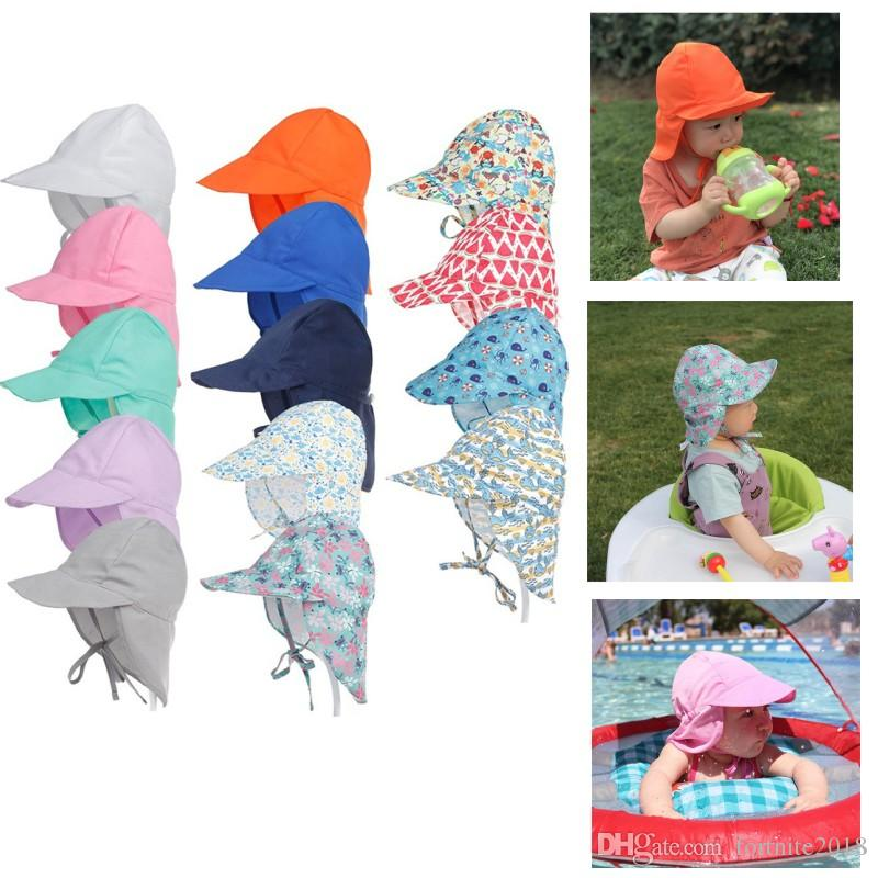 b120a7616cadc 2019 Baby Neck UV Protection Hat Kids Outdoor Anti UV Swim Caps Cartoon  Pattern Print Sun Protection Lace Up Caps Adjustable Kid Beach Caps From ...