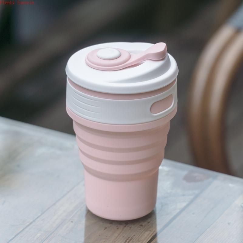 350ml Portable Folding Creative Travel Telescopic Kettle Outdoor Sport Food Grade Silicone Mini Tour Drinkware Cup Water Bottle T8190627