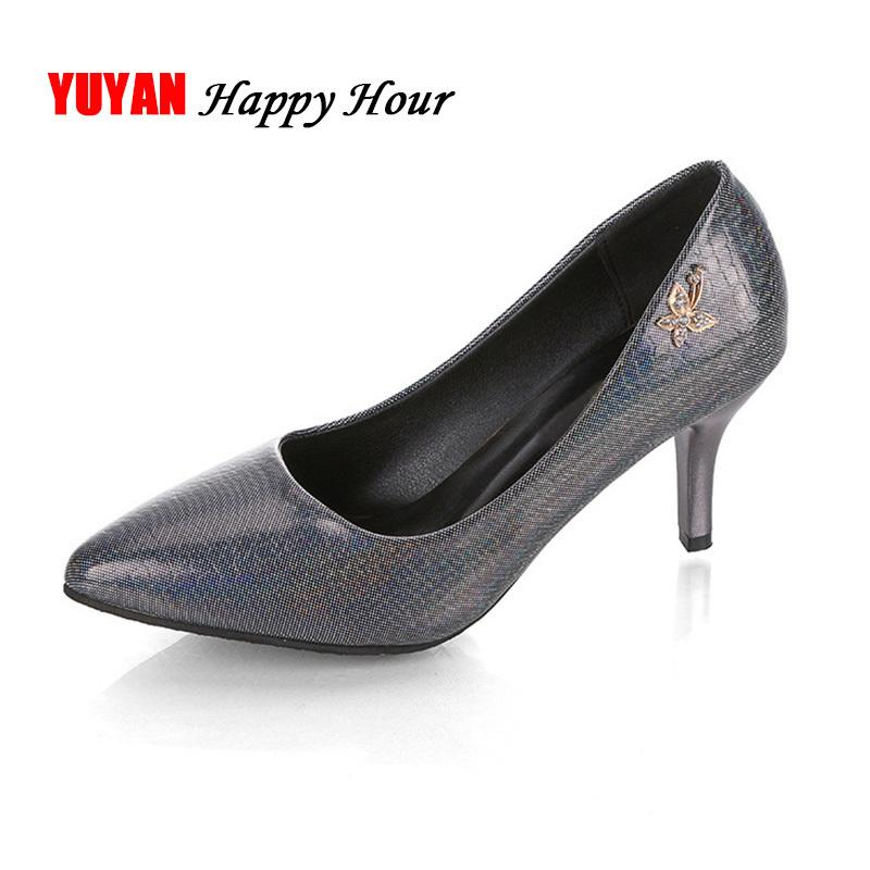 a5c37ff5d4e5 New 2019 Elegant High Heel Shoes Women Heeled Shoes Luxury Brand Women S  Pumps Office Ladies Thin Heel 6.5cm Yx541 Birkenstock Shoes Brown Dress  Shoes From ...