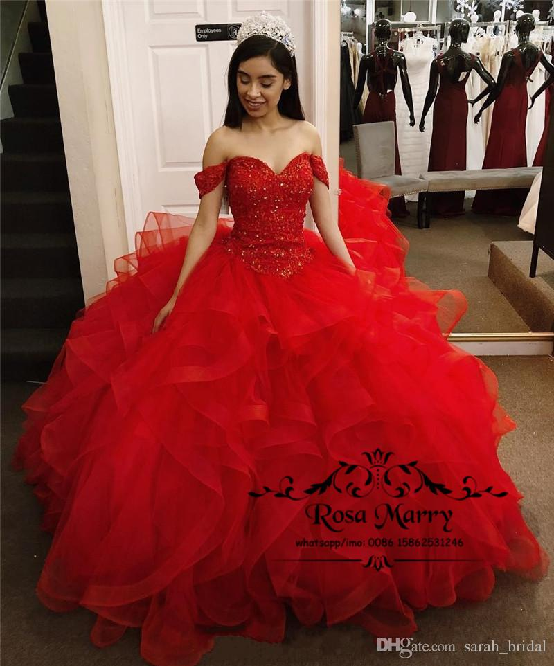 Red Ball Gown Sweet 16 Quinceanera Dresses 2019 Off Shoulder Cascading  Ruffle Crystals Plus Size Birthday Prom Party Gown Vestido De 15 Anos  History Of ... fb03f6d8049b