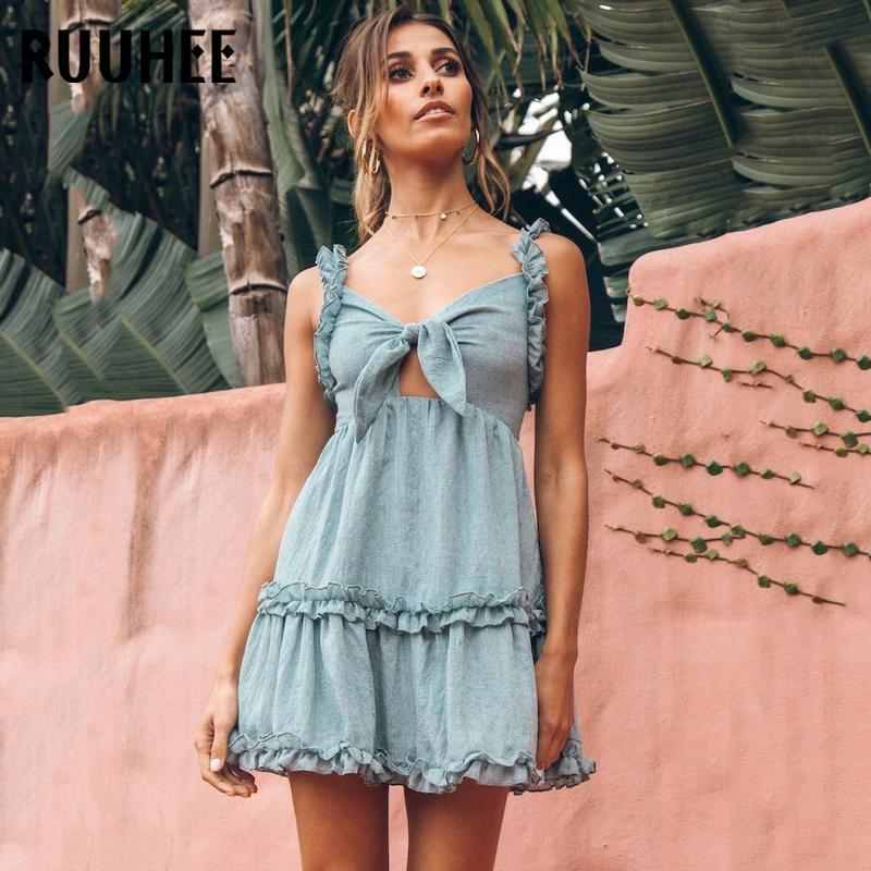 RUUHEE Frauen Badeanzug Cover Up Sleeveless Strandkleid Feste Baumwolle Sexy Strand Tragen Vertuschungen Badebekleidung Bikini Set
