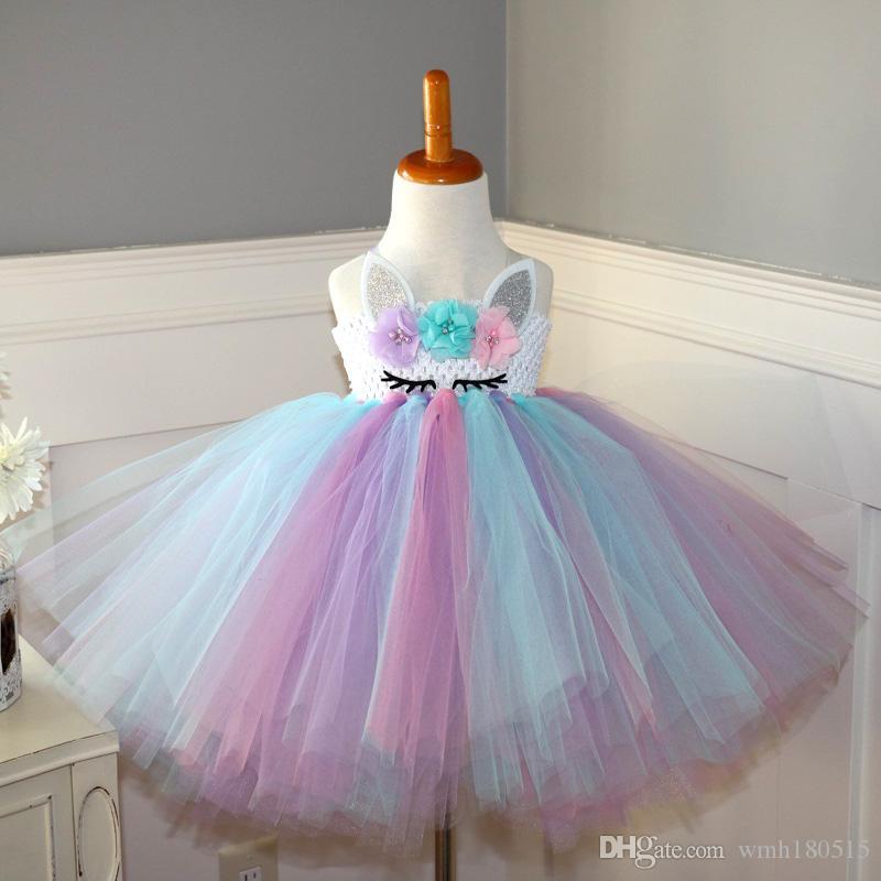 10decf1cba DIY Unicorn birthday dress girl child fashion unicorn Strapless dresser  party Summer Wedding Dresses For birthday