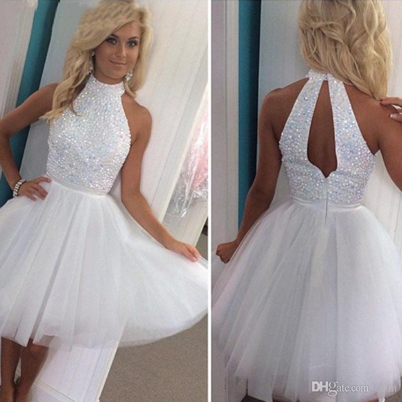 49ddc22c2a9e Crystal White Beaded Short Backless Homecoming Dresses 2019 A Line Halter  Party Prom Dress Formal Evening Vestido De Festa Vintage Homecoming Dress  Long ...