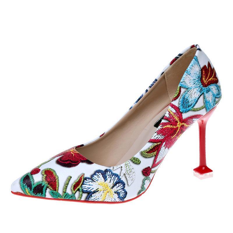 93f988d97589 Acheter Robe 2019 Printemps Femmes Super Talons Hauts 9 Cm Broderie Fleur Pompes  Femmes Chaussures Femme Sexy Partie De Mariage Pointu Toe Mince Talons De  ...